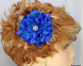 Blue Fascinator, Floral Hair Clip, Bridal Headpiece, Wedding Accessory, REX14193