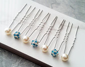 7 Something Blue Beach Theme Rhinestone Hair Pins, Bridesmaid Gift Set, Swarovski Pearl Wedding Hair Pin, HS167
