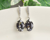 Dark Gray Bridal Earrings Silver Swarovski Crystal Grey Bridesmaid Earrings Mother Of The Groom Jewelry Charcoal Grey Bridal Party Gifts