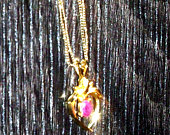 Simulated Red Heart Stone on Double Strand Necklace, Gold Tone Beaded Double Chain, Not Marked, Heart Pendant, Mothers Day Early 90s