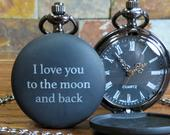 Personalized Custom Black Pocket Watch Engraved Custom Groomsman Gifts Gifts for Men Wedding Birthday Anniversary Christmas (938)