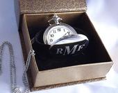 Personalized Pocket watch Laser engraved pocket watch Vintage personalized engraved watch in gift box Groomsmen gift Gifts for him