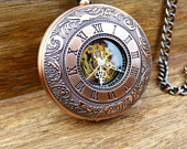 Premium copper pocket watch with watch chain, mens watch, custom engraved,groomsmen gift, Gift Boxed Item MPW098