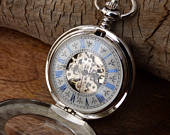 Premium Pocket Watch, watch chain, silver blue automatic watch, Handwind, Engravable, Groomsmen Gift Item MPW433a