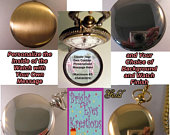 CUSTOM Personalized Message Pocket Watch with Your Choice of Background Chain Gifts for Him Gifts for Men Gifts for Son Gifts for Brother