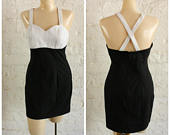 1990s Body Con Dress / Black White Mini Dress / 90s Leather Dress / White Leather Dress / Little Black Wiggle Dress / Vintage 90s Dress M