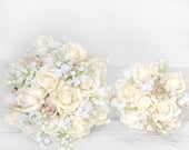 Wedding Bouquet, Ivory Bouquet, Cream Bouquet, Beige Bouquet, Champagne Bouquet, Silk Wedding Bouquet, Rose Bouquet, Rustic Bouquet, Garden