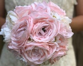 Blush Pink Bridesmaid Bouquet Burlap and Lace Bouquet Bride Bouquets Bridesmaid Bouquets Blush Pink Wedding