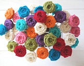 Burlap Roses on Wire Stem, Rustic Wedding Bouquet Fabric Flowers, Flowers on Flexible Stem