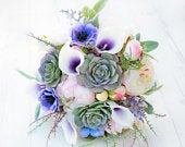 Lilac Bouquet, Succulent Bouquet, Purple Succulent Bouquet, Rustic Wedding Bouquet, Silk Succulent, Blush Purple Bouquet, Peony Bouquet