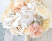 Lace Bouquet, Burlap Bouquet, Rustic Bouquet, Vintage Bouquet, Feathers, Brooch Bouquet, Silk Wedding Bouquet, Sola Bouquet, Blush Bouquet