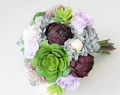 Succulent Bouquet, Purple Succulent Bouquet, Hydrangeas Bouquet, Lilac Bouquet, Rustic Bouquet, Silk Succulent Bouquet, Lilac Wedding