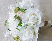 Wedding Bouquet, Rustic Bouquet, Garden Bouquet, Greenery Bouquet, Silk Rose Bouquet, Bridesmaid Bouquet, Champagne Bouquet, Cream Bouquet