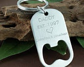 Engraved Fathers Day Gift, Bottle Opener Keychain, Gift for Dad, Husband, Daddy Est. Keychain, Stainless Steel Money Clip, Personalized Gift