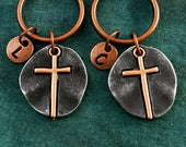 Cross Keychain SET of 2 SMALL Copper Cross Keyrings Christian Keychain Initial Keychain Friendship Keychain Youth Group Pastor Gift Dad Gift
