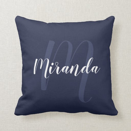 Modern Personalized Monogram and Name Navy Blue Throw Pillow