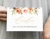 Personalized Bridesmaid Proposal Card, Will you Be My Bridesmaid Gift, Maid of Honor Wedding Card, Wedding Photographer Card, EB1