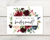 Will You Be My Bridesmaid? Printable Bridesmaid Proposal Card Burgundy Navy Florals Instant Download Bridesmaid Gift