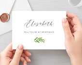 Will You Be My Bridesmaid Fully Editable PDF Template, Greenery Card, Printable Bridesmaid Proposal Card Template Download Greenery GLC4