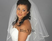 2 Tier Blusher Veil Soft Wedding Veil Full Veil Available in 9 Lengths and 10 Colors! Fast Shipping!