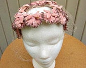 vintage 50s rose blush velvet flowers beaded pearls veiled bridal hat head piece hand made
