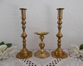 Vintage Gold Brass Unity Wedding Candle Holder Set Taper Pillar Fall Autumn Reception Candleholder Decoration Mid Century Retro Home Decor