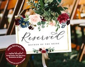 Reserved Wedding Sign Template, Fall Wedding Reserved Sign, Reserved Sign, Burgundy Reserved Sign, 100% Editable Instant Download