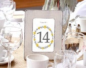 Fall wedding shabby chic table numbers printables, yellow and grey wedding decor, Reception fall flowers table cards, Wedding table numbers