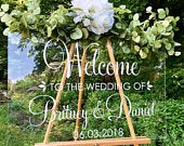 Welcome Wedding Decal Personalized Couples Names and Dates Vinyl Decal for Wedding Sign DIY Lettering Elegant Wedding Decor Fall Wedding