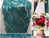 TEAL/GREEN Lace Table Runner, 3ft to10ft long x 7wide/ Wedding Decor/Peacock weddings/ overlay/teal Weddings/centerpiece/Fall weddings