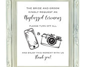 Unplugged Ceremony Sign, The Bride and Groom Kindly Request, 8x10, Instant Download, Printable Unplugged Wedding Sign, Digital Wedding Sign