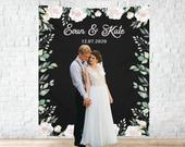 Black White Floral Wedding Backdrop, Boho Custom Engagement Party Decor, Personalized Bridal Shower Banner, Customized Reception Decoration