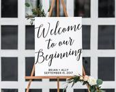 Welcome to Our Beginning Custom Printable. Wedding Entrance Sign. Wedding Sign. Engagement Party Decorations. Wedding Decorations.