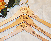 3 Personalized Bridesmaid Hangers, Engraved Bride Bridesmaid Maid of Honor Mother of the Bride