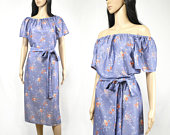 Vintage floral off shoulder dress, 70s gray blue maxi dress, orange flowers, belt tie, size 14 XL
