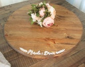 24 personalized round wooden cake stand, rustic cupcake stand, cake riser, wood wedding decor, custom, pie stand, dessert table, with names