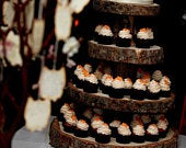 Rustic Wood Tree Slice 4tier Cupcake Stand for your Wedding, Event, or Party (As seen on HGTV.com)