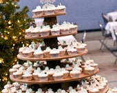 Rustic Cupcake Stand 7 Tier (Tower Holder) 250 Cupcakes 500 Donuts for Wedding, Birthday, Shower, Anniversary, Party, Pastries Wood Wooden