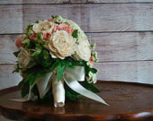 Bridal Bouquet in Pink and Green Hand dyed sola flowers