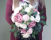 Mauve and blush cascading bouquet, wedding bouquet, ramo de novia, sola wood flowers