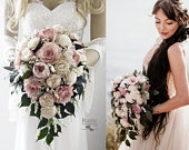Light Dusty Rose Ivory Cottage Rose Sola Flower Bridal Cluster Cascade Bouquet Sola Flower Bouquet, Sola Wood Bouquet