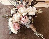 Sola Wood Flowers Dusty Rose Wood Flower Forever Bouquet Sola Wood Wedding Pink Ivory Olive Branch Greenery