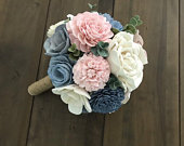 Sola Wood Flower Bouquet, Sola Wood Flowers, Dusty blue and pink, bouquet