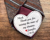 TIE PATCH Father of the Groom, Father of the Bride, Iron On, Sew On, 2.25 Wide Heart Shaped Patch, Little Red Heart, Personalized Patch