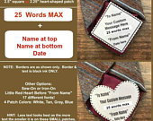 CUSTOM TIE PATCH Personalized Message, Father of the Bride, Father of the Groom, Little Red Heart Option, 2.5 Square or 2.25 Heart Shape