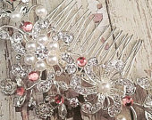 Blush Rhinestone Bridal Hair Comb, Pink Wedding Hair Comb, Crystal Pearl Bridal Hair Jewelry for Updo