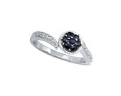 Black Diamond Ring/ Flower Engagement Ring made of 14k White Gold with .25CT Black Diamond and White Diamond