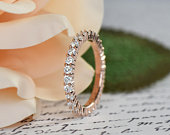 1 ctw Full Eternity Band, 2mm Round Wedding Band, Bridal Engagement Ring, Man Made Diamond Simulant, Sterling Silver, Rose Gold Plated