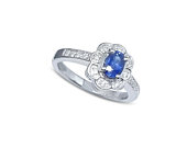 Blue Sapphire and Diamond Engagement Ring made of 14k White Gold with .18CT White Diamond .50CT Blue Sapphire