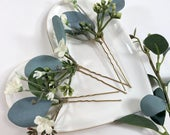 Eucalyptus Hair Pins Babies Breath Hair Pins Gypsophila Hair Pins Eucalyptus Leaves Greenery Hair Pins Bridal Hair Pin Set
